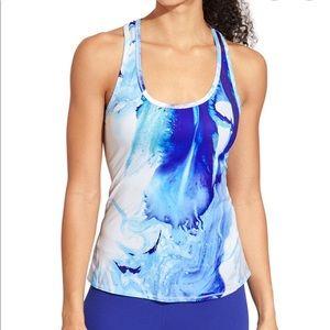 Athleta Fiji Chi Tank Blue watercolor Racerback